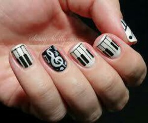 nails, music, and piano image