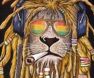 lion, rasta, and weed image