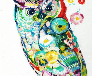 owl and flowers image