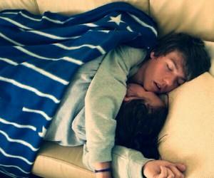 couple, hug, and sleeping image