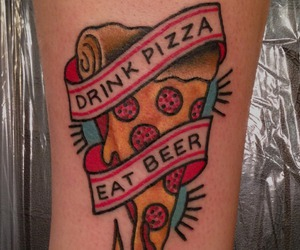 beer, cool, and pizza image