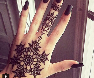 black, henna, and nails image