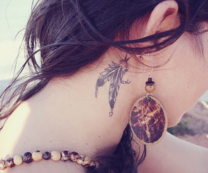 girl, tattoo, and behind image