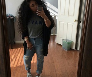 curly hair, fashion, and outfit image