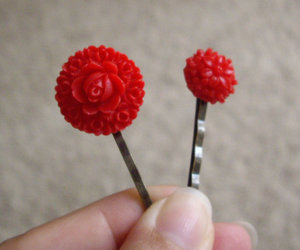 girl, hairpin, and red image