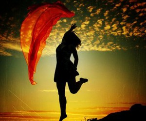 girl, jump, and red image