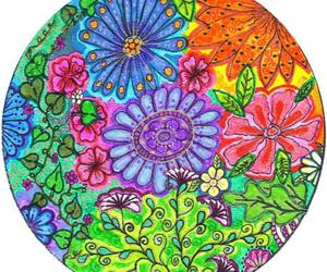 circle, drawing, and floral image