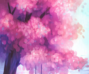 art, tree, and pink image