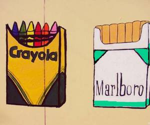crayola, marlboro, and cigarette image