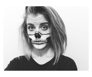 black and white, halloween makeup, and face image