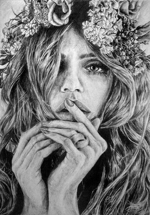 Dessin Dune Jeune Fille Triste A Fleurs On We Heart It