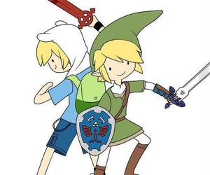 link, finn, and adventure time image