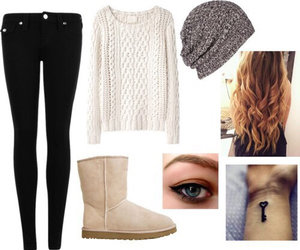 beanie, boots, and outfit image