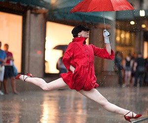 dance, red, and rain image