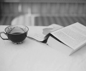 book, tea, and b&w image