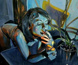 art, cigarette, and girl image