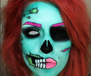 makeup, Halloween, and zombie image