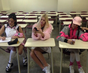 girl, pink, and school image