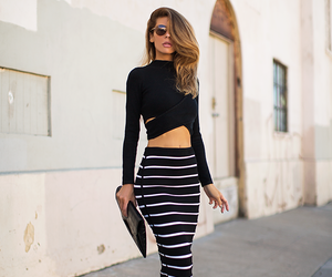 black shirt, black outfit, and black skirt image