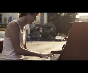 music, outside, and piano image