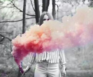 girl, smoke, and forest image