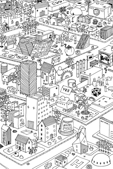 black and white, city, and drawing image
