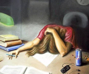 exam, study, and tired image