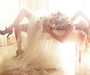 beautiful, bride, and curtain image