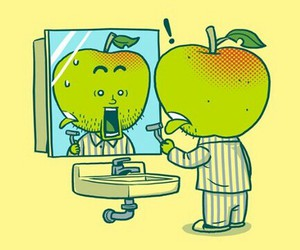 apple, funny, and green image