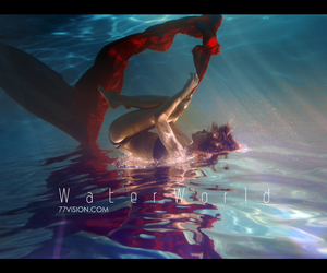 red, tattoo girl, and under the water image