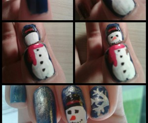 nail art, snowman, and tuto image