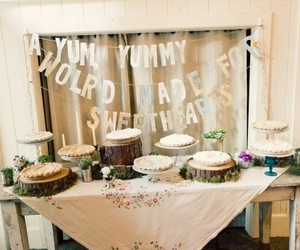 candy bar, decor, and wedding image