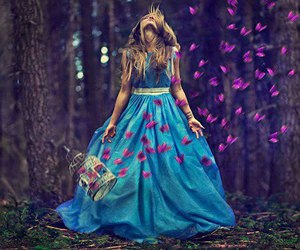 girl, dress, and butterfly image