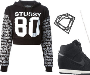 black, nike, and Polyvore image
