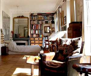 bed, books, and interior image