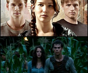harry potter, hunger games, and divergent image
