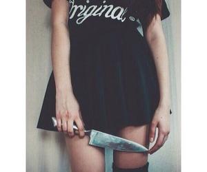 black, dress, and girl image