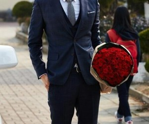 flowers, rose, and man image