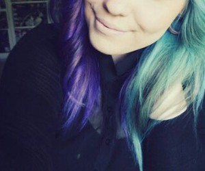 blue, color hair, and girl image