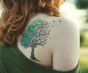 girl, tattoo, and tree image