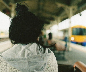 girl, hair, and train image