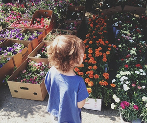 flowers, child, and kids image