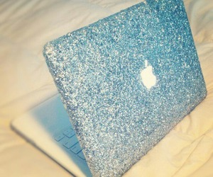 apple, glitter, and laptop image