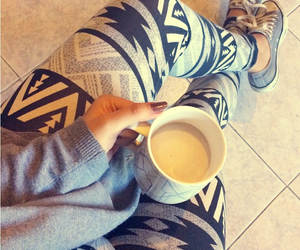 all star, aztec, and coffee image