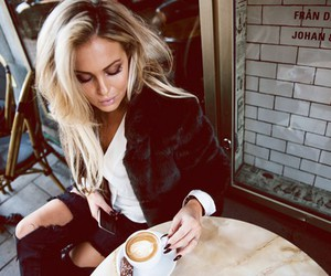 fashion, coffee, and blonde image