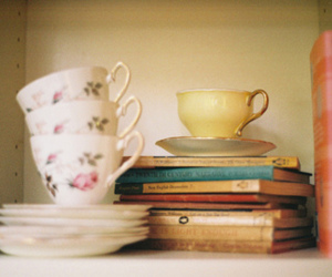 book, cup, and vintage image