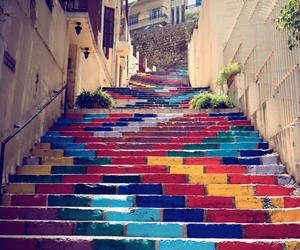 colors, stairs, and art image