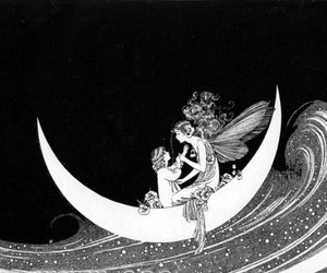 fairy, moon, and black and white image