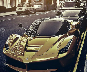 car, ferrari, and gold image