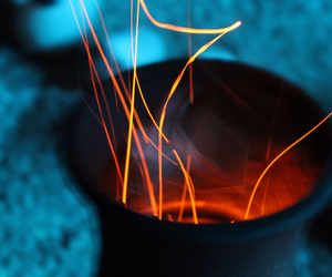 blue, fire, and outside image